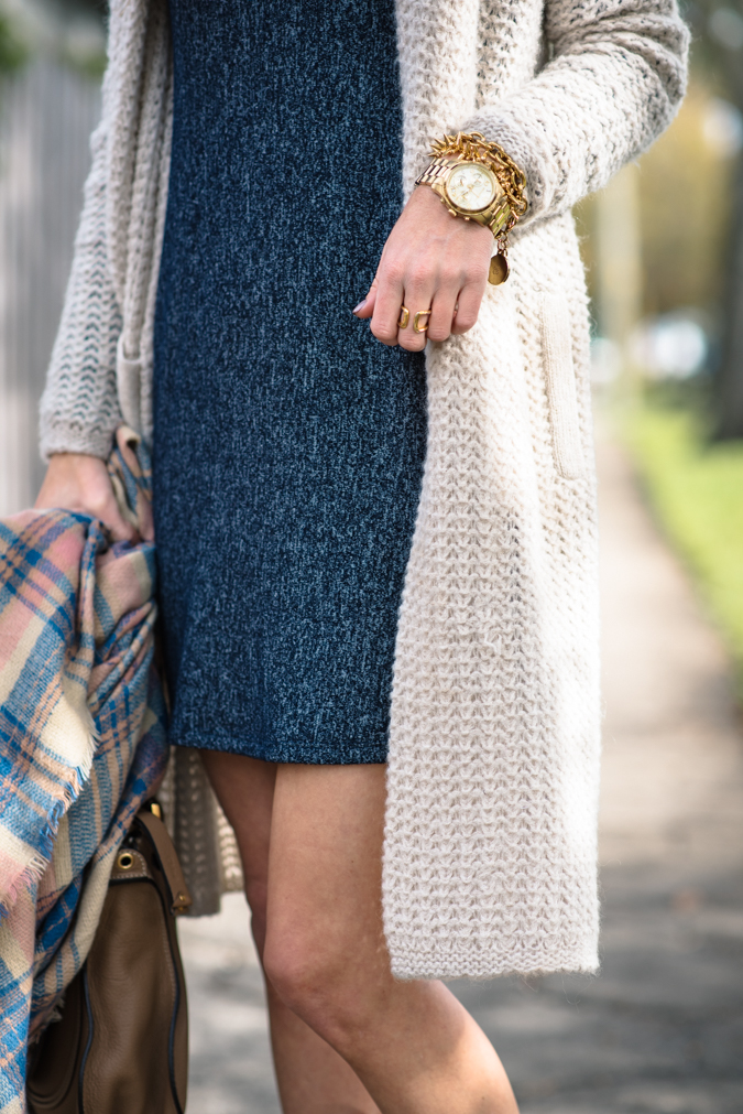 winter layers, everly clothing, everly turtleneck dress, sweater dress, winter style, plaid scarf, winter outfit, chloe handbag, chloe marcie satchel, marcie satchel, knit cardigan, cream knit cardigan, brown booties