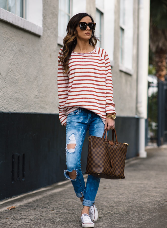 stripes, stripe shirt, distressed denim, blank denim, louis vuitton, casual style, celine sunglasses, gold jewelry, casual outfit,