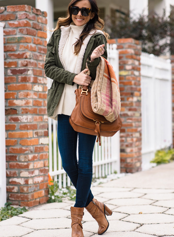topshop, winter outfit, winter outfit inspiration, plaid scarf, chloe purse, chloe marcie satchel, parka, utility parka, celine sunglasses, topshop turtleneck, topshop sweater, vince camuto booties,