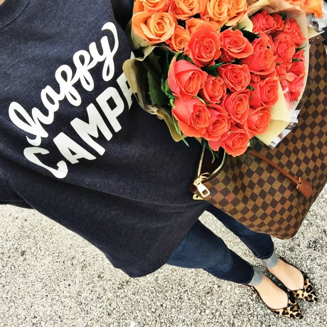 style blogger, instagram roundup, personal style, alyson haley, winter style, fall style, fresh flowers, fresh bloom, happy camper, sweatshirt, leopard print, leopard, leopard flats,