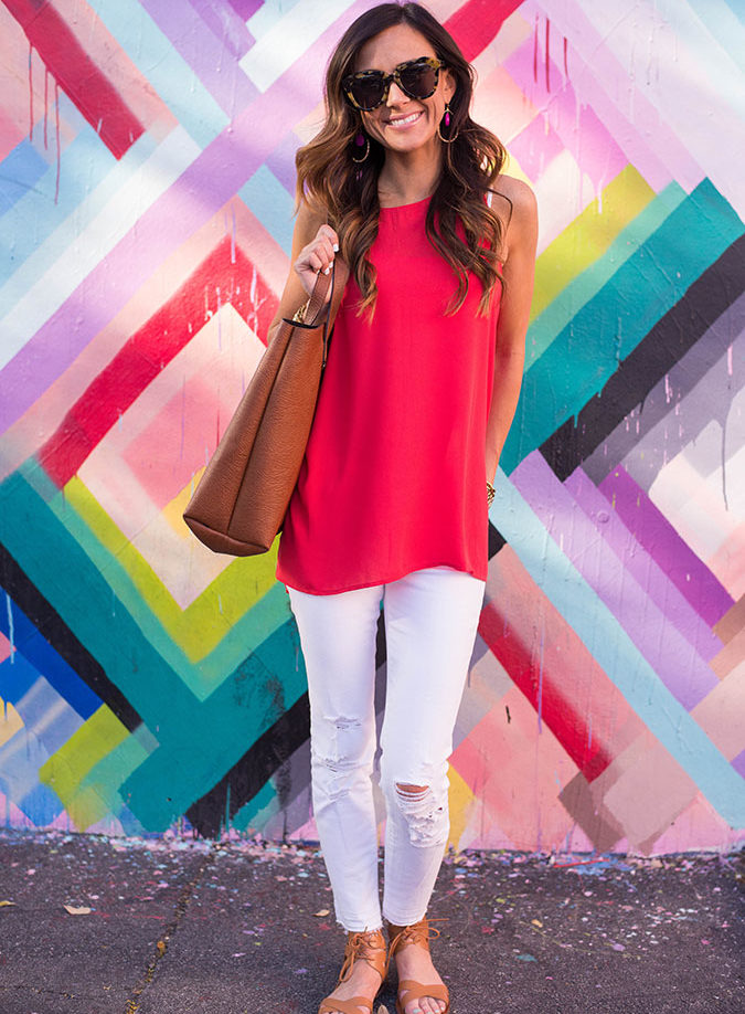 bright colors, lush tank top, distressed denim, j brand denim, j brand jeans, wynwood walls, maya hayuk, mural, miami, florida, miami art, miami art district, affordable outfit, summer style,