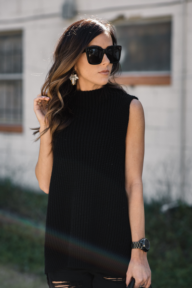 ribbed sleeveless turtleneck sweater, sleeveless sweater, black sleeveless sweater, bp. sleeveless sweater, celine sunglasses, baublebar statement earrings, kristin cavallari black wedges, topshop distressed denim skinny jeans, black distressed denim, distressed denim skinny jeans, black skinny jeans, black distressed skinny jeans, celine handbag, celine tote, celine satchel