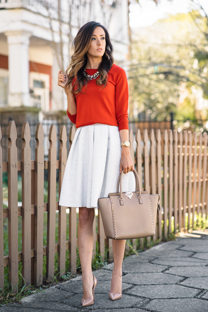 hinge knit pleat skirt, hinge skirt, pleated skirt, knit skirt, red sweater, j.crew sweater, j.crew, j.crew tippi sweater, red j.crew sweater, valentino rockstud tote, valentino medium rockstud tote, baublebar statement necklace, baublebar necklace, baublebar, christian louboutin, loubs, gold watch, michael kors gold watch, valentine's day outfit inspiration, VDay outfit inspiration, date night outfit,