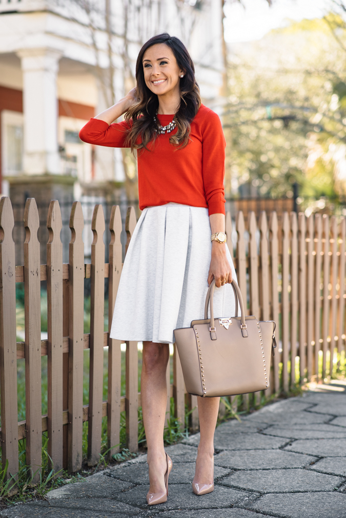 hinge knit pleat skirt, hinge skirt, pleated skirt, knit skirt, red sweater, j.crew sweater, j.crew, j.crew tippi sweater, red j.crew sweater, valentino rockstud tote, valentino medium rockstud tote, baublebar statement necklace, baublebar necklace, baublebar, christian louboutin, loubs, gold watch, michael kors gold watch, valentine's day outfit inspiration, VDay outfit inspiration, date night outfit, valentine's day date night