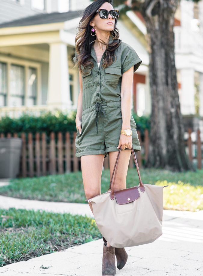 trott bootie, bp. utility romper, utility, celine sunglasses, longchamp medium tote, longchamp le pliage tote, panacea earrings, spring outfit, military inspired