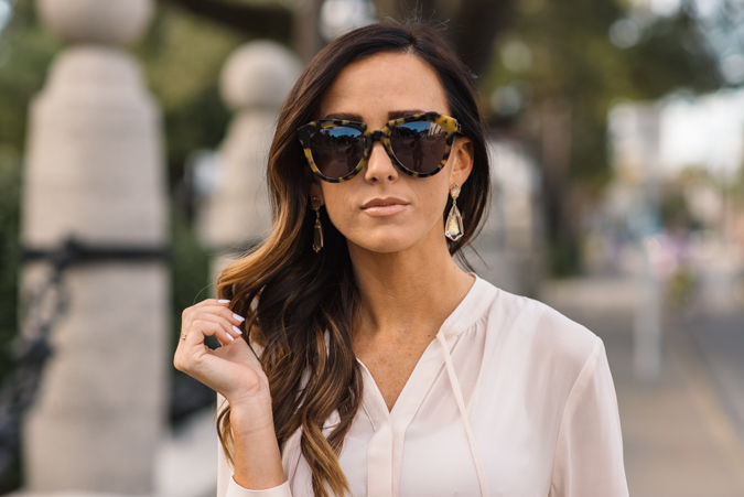 blouses, paige denim, skinny jeans, mint jeans, mint denim, colored denim, blouse, prada, prada handbag, karen walker sunglasses, number one sunglasses, wedges, spring style, spring outfit, st. augustine, saint augustine, st augustine, kendra scott, kendra scott earrings