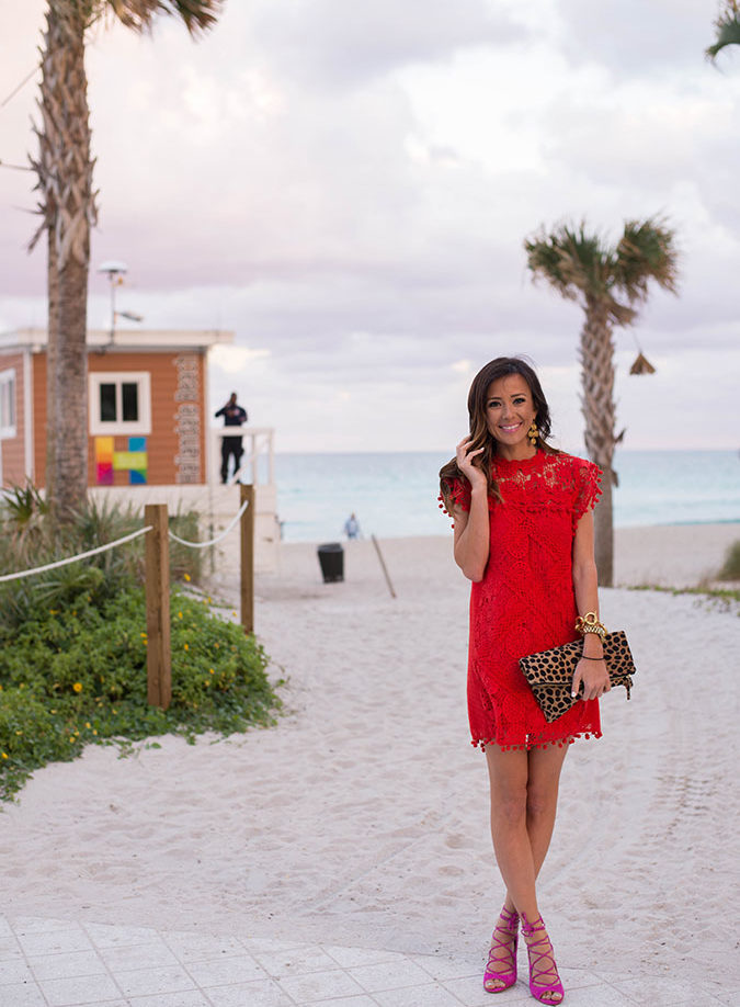 miami, florida, miam beach, leopard foldover clutch, clare v leopard calf hair clutch, red dress, tularosa, tularosa red dress, tularosa dress, steve madden, steve madden heels, leopard, leopard clutch, personal questions and answers, personal questions