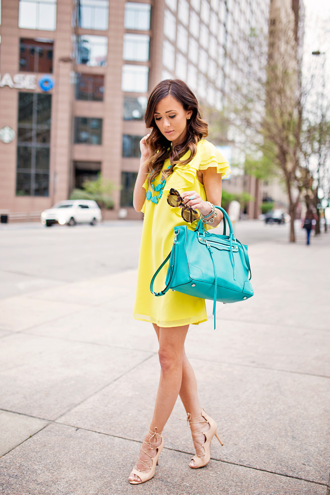 howtowearbrightcolors, asosruffleminishiftdress