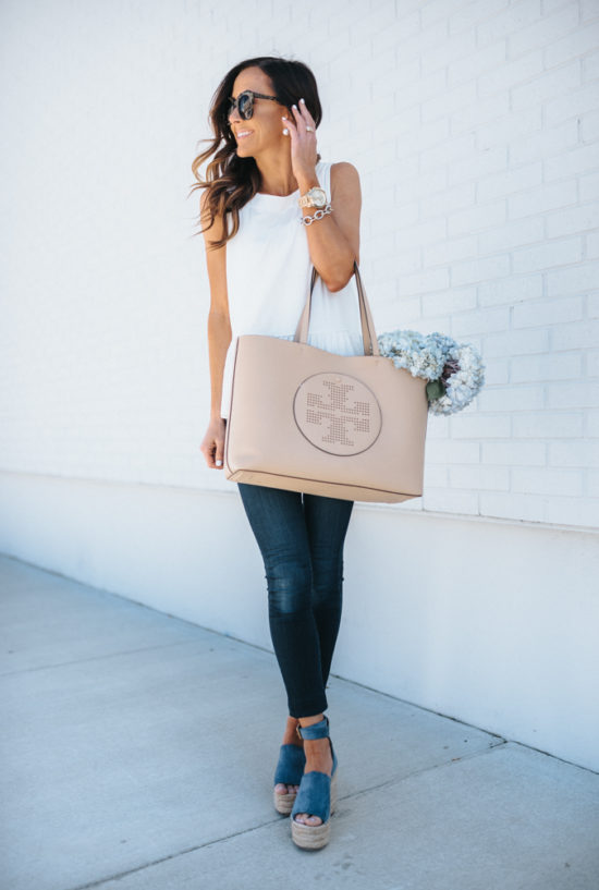 spring outfit inspiration, hydrangeas, blue wedges, chloe