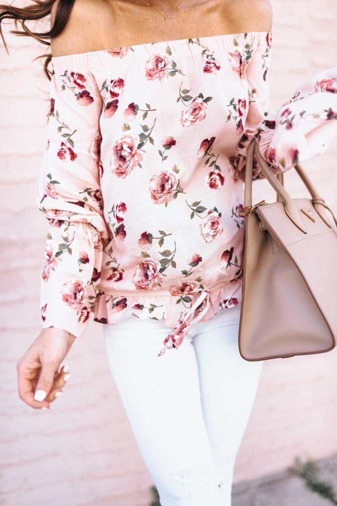 pink, pink florals, floral top, florals for spring, spring fashion, spring style, prada, designer handbag, designer shoes, christian louboutin, sequins and things style, sequins and things, pink wall, alyson haley blog, affordable fashion, alyson haley