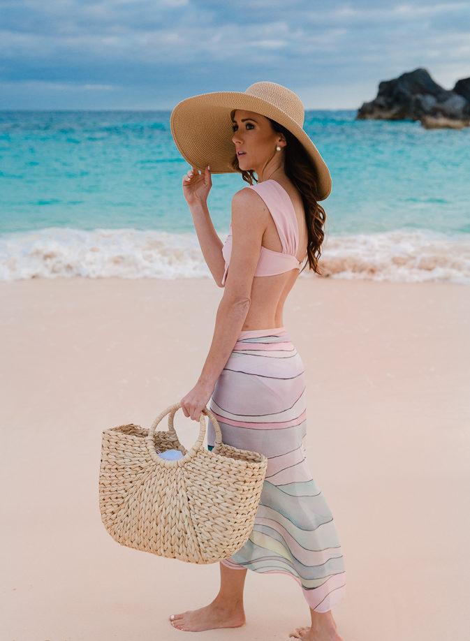pink sand, pink bikini, horseshoe bay, bermuda, sequins and things, alyson haley