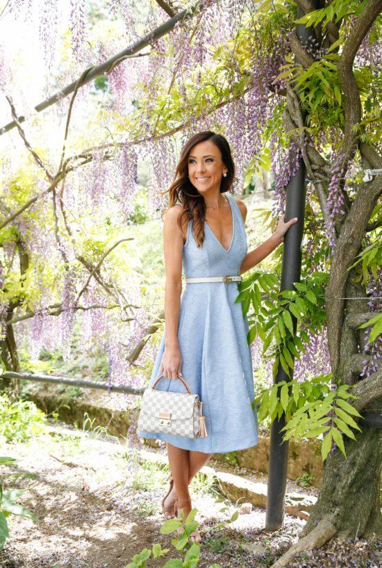 florence, asos, blue dress, boboli gardens, fit and flare dress