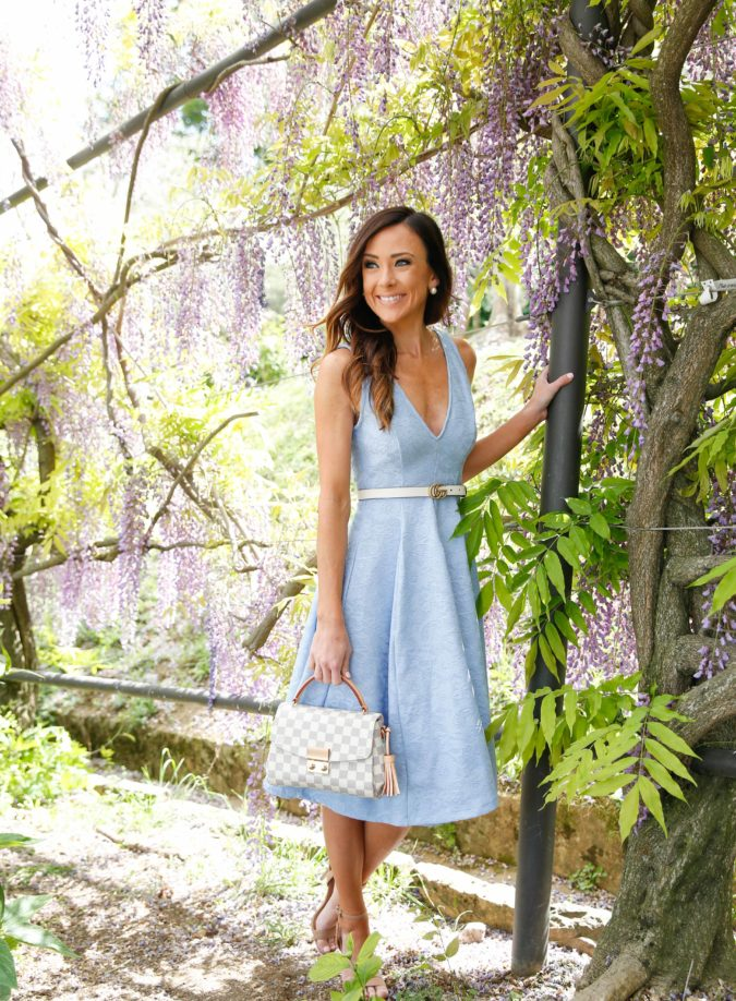 florence, asos, blue dress, boboli gardens, fit and flare dress