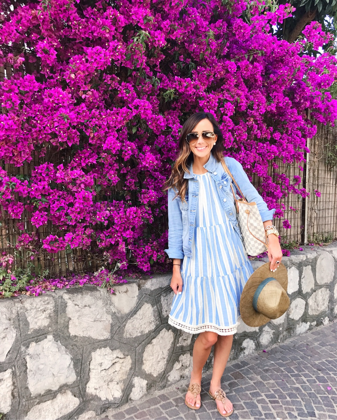 sorrento, italy, bougainvillea, stripe swing dress, jean jacket, alyson haley, aviator sunglasses
