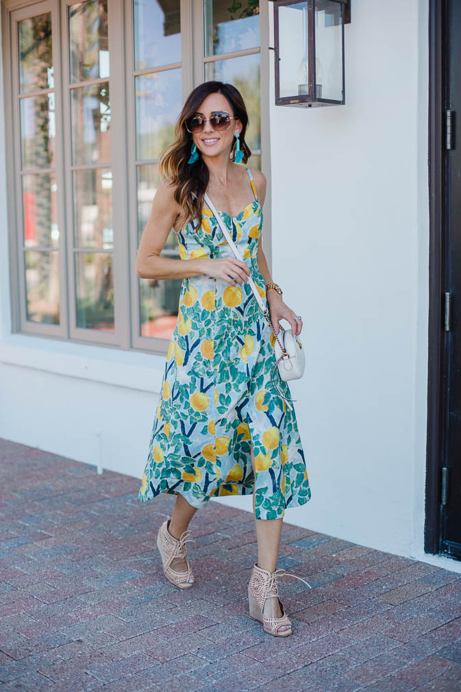 lemon print, summer dresses, lemons, amalfi coast, gucci, designer handbag, summer trends, on trend, tuckernuck