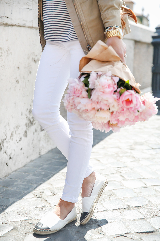 rome, rome travel diary, pink peonies, tory burch espadrilles, chloe marcie, chloe marcie handbag