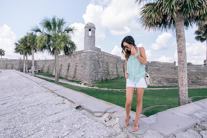 st. augustine, florida, summer style, stripes, j.crew, ysl, designer handbag, summer outfit, castillo de san marcos