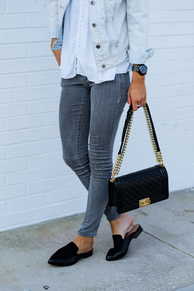 fall style, loafers, how to style slides, how to style loafers, black loafers, black slides, chanel boy bag, chanel, designer handbag, jean jacket, gray jeans, how to style gray jeans