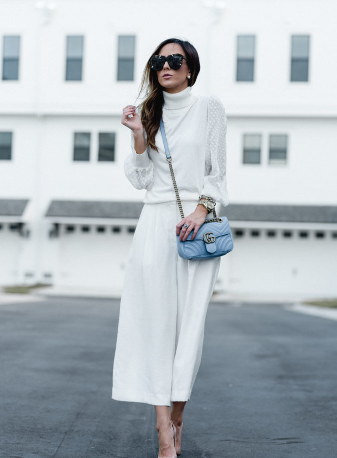 fall style, chic outfit, nordstrom, culottes, white after labor day