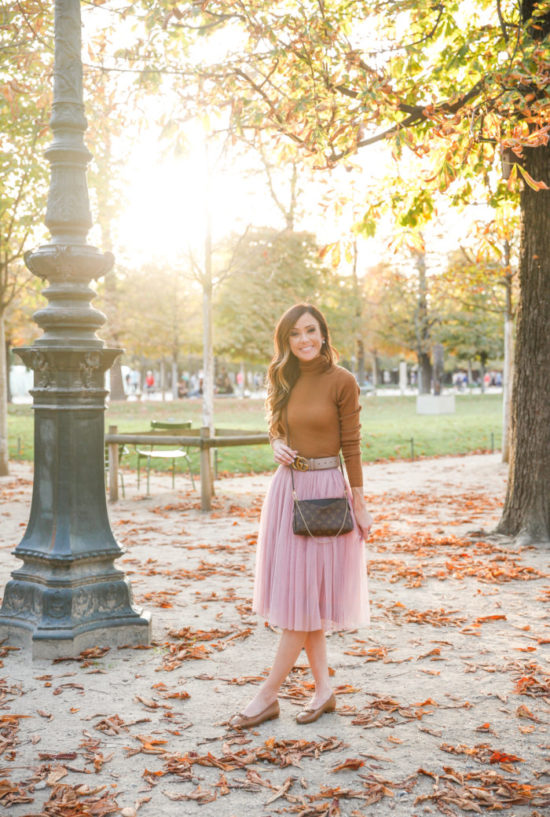 tuilleries, paris, tuilleries garden, what to wear in paris, chanel ballerina flats, sequins & things travel, sequins & things style, sequins & things, alyson haley, fall outfit inspiration, fall outfit, fall style, fall fashion, cashmere, tulle skirt, gucci belt