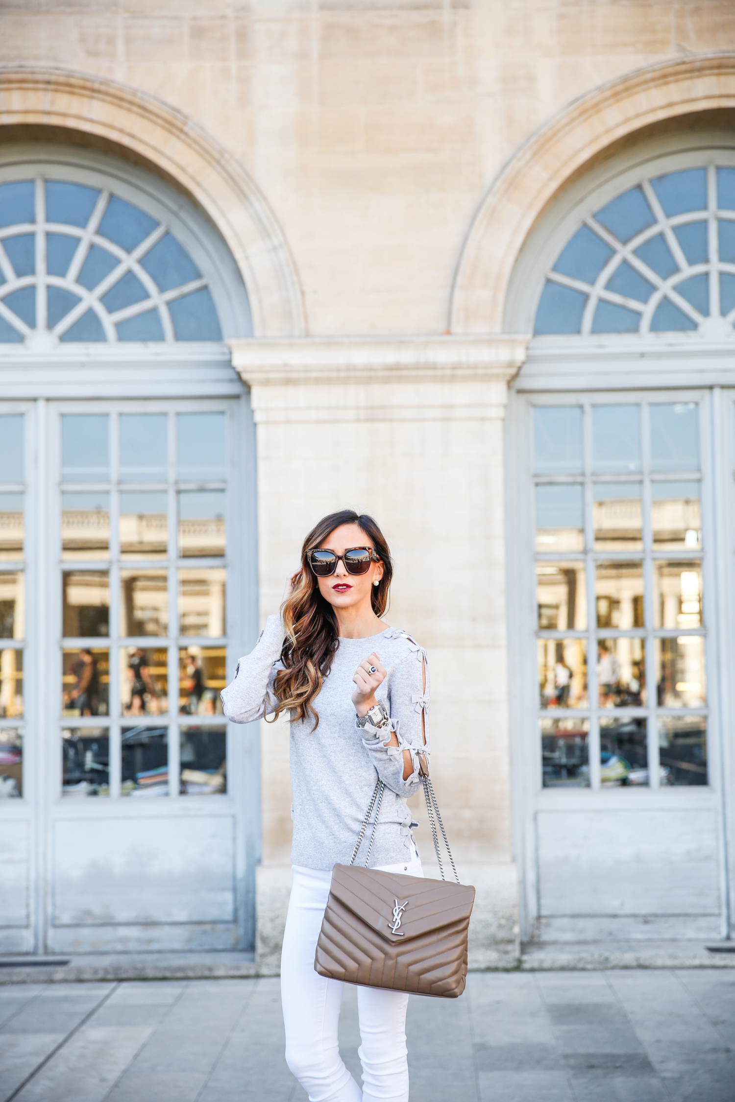 paris, france, sequins and things, alyson haley, palais royale, ted baker, ag jeans, steve madden heels, ysl handbag, black and white stripes, fall in paris, travel outfit,