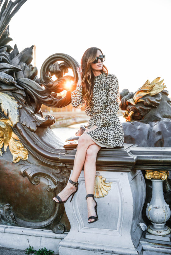 paris, france, kate spade, sequins and things, alysonhaley, alyson haley, pont alexandre iii, fashion blogger in paris, sunset in paris, leopard print