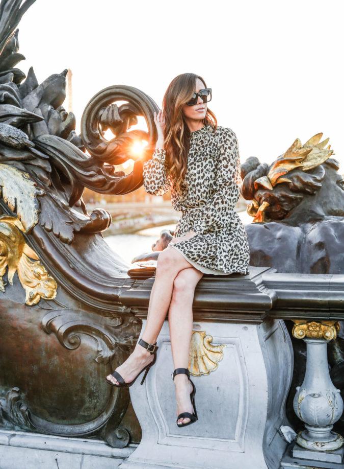 paris, france, kate spade, sequins and things, alysonhaley, alyson haley, pont alexandre iii, fashion blogger in paris, sunset in paris, leopard print