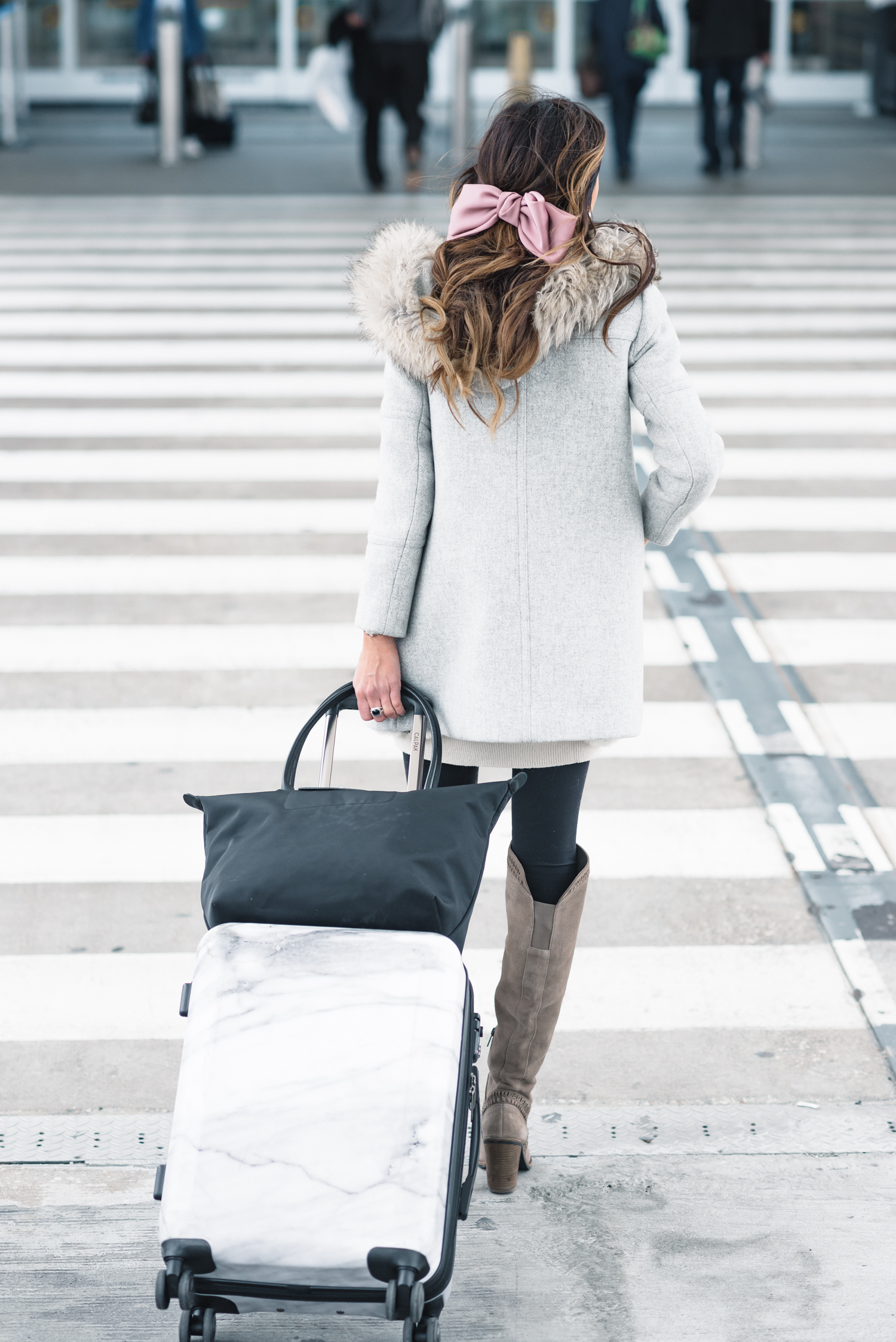 holiday travel, tips for holiday travel, holiday travel tips, sequins and things travel, sequins and things, sequins & things travel, sequins & things, alyson haley, alyson haley blogger, thanksgiving travel, traveling at christmas, christmas travel, how to survive holiday travel, holiday travel survival tips, j.crew chateau parka, j.crew coat, j.crew, free people hair bow, over the knee boots, longchamp tote, marble suitcase, marble luggage, calpak marble luggage, calpak luggage