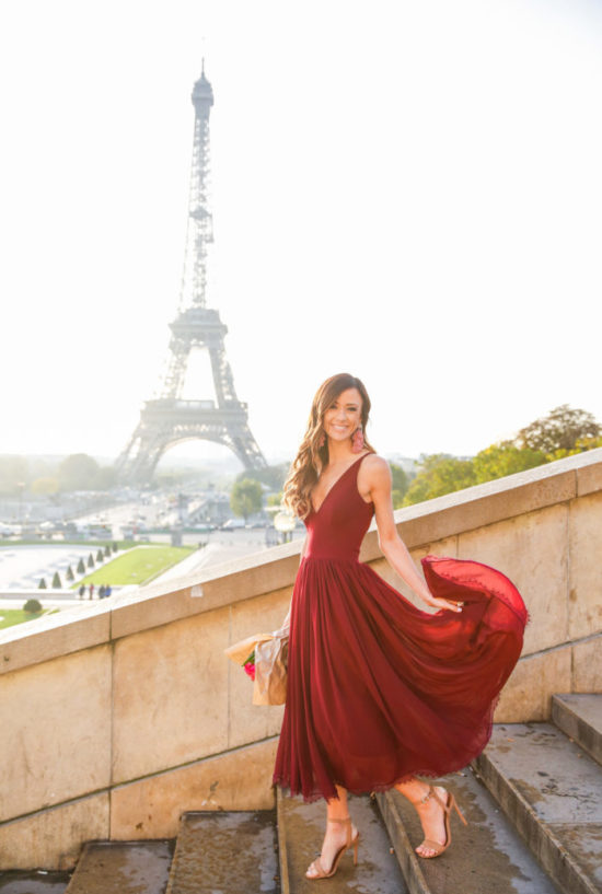 trocadero, paris, france, what to wear in paris, what to wear for an engagement shoot in paris, special occasion dress, what to wear to a wedding in the fall, fall special occasion dresses, sequins and things paris, sequins and things trocadero, eiffel tower, burgundy dress, alyson haley paris, alyson haley travel