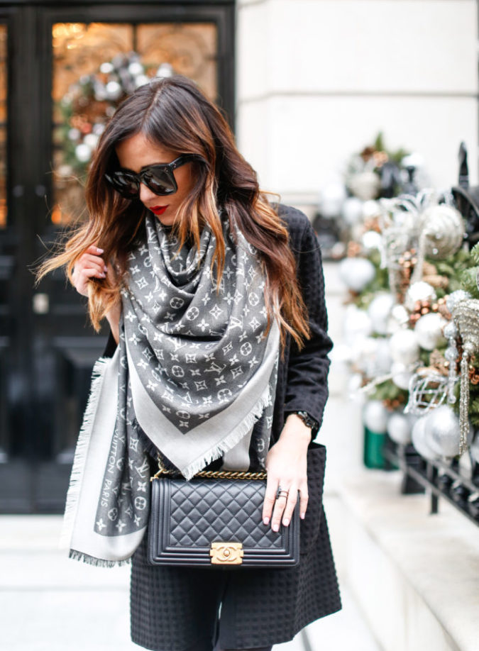 london, christmas, holiday outfit, louis vuitton, chanel boy bag