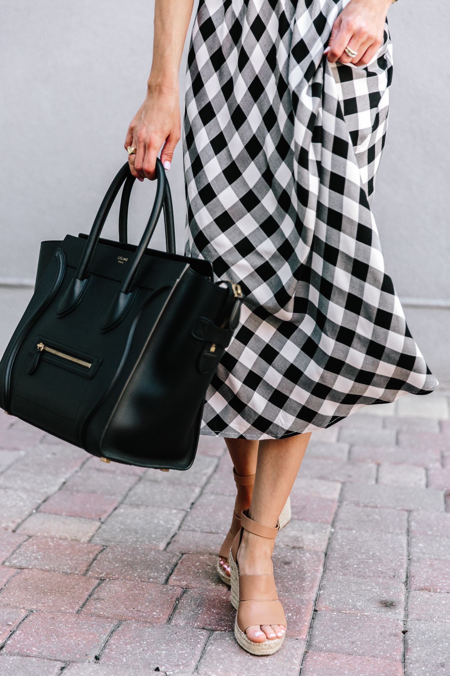 gingham, nordstrom, spring trends, celine handbag, spring dresses, statement earrings