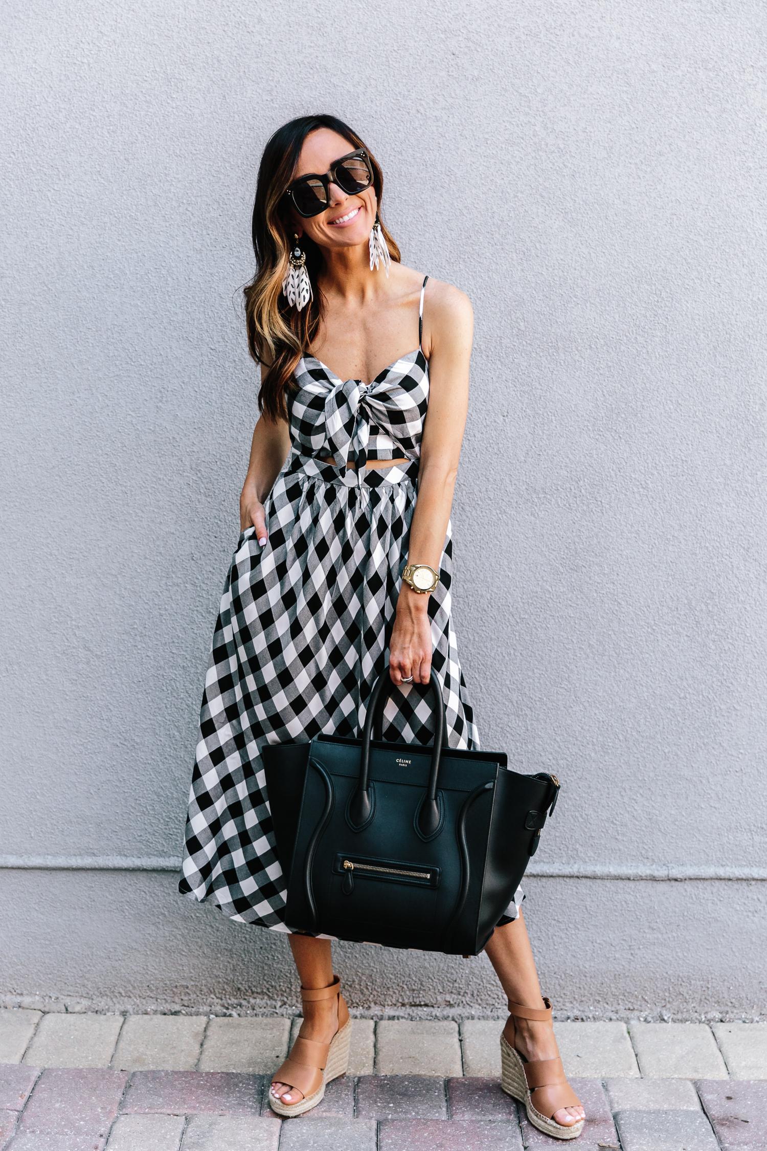 gingham, nordstrom, spring trends, celine handbag, spring dresses