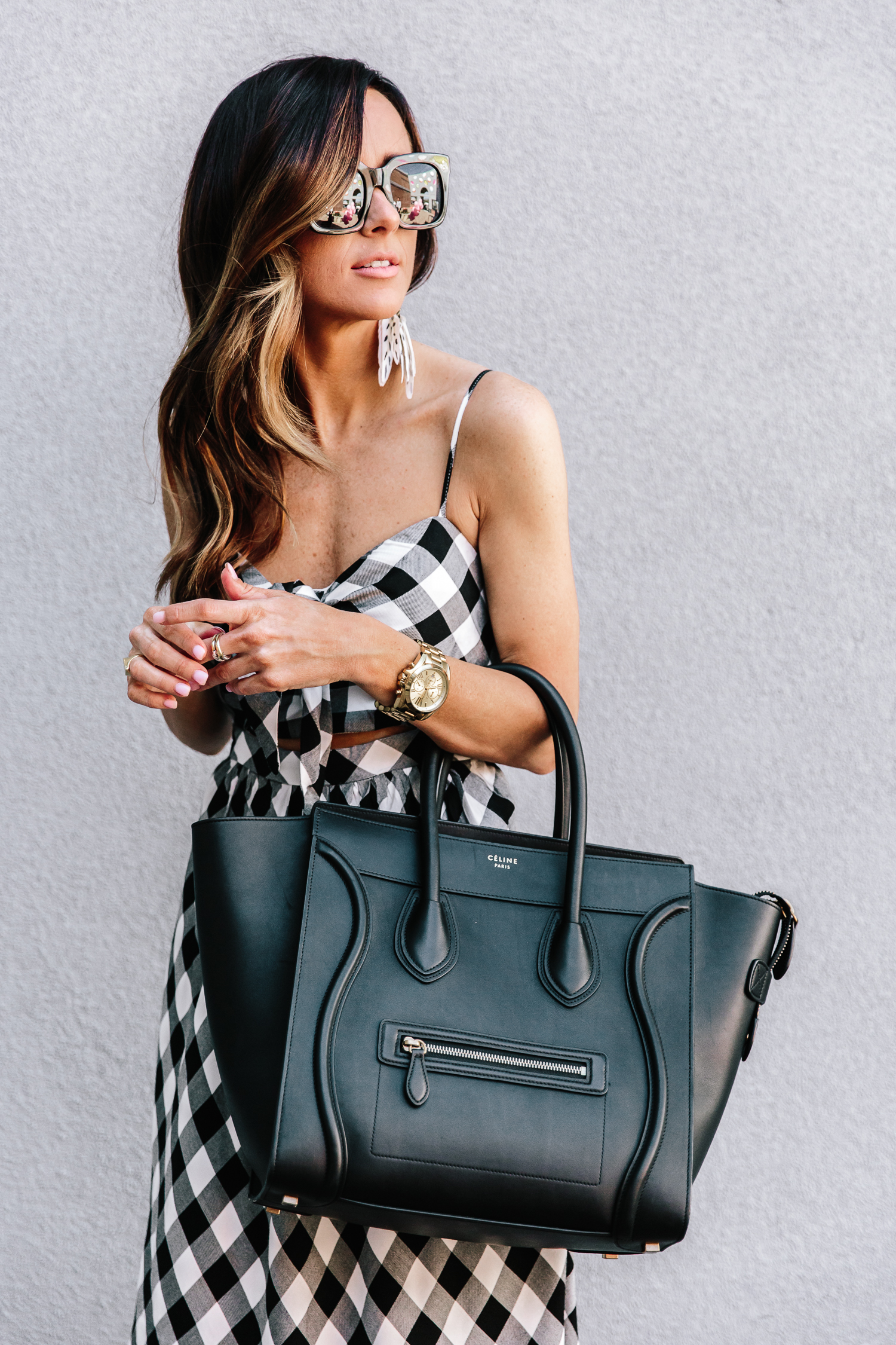 gingham, nordstrom, spring trends, celine handbag, spring dresses, statement earrings