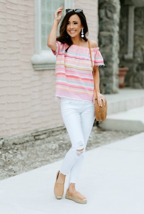 stripe top, spring outfit inspiration, alyson haley, sequins and things