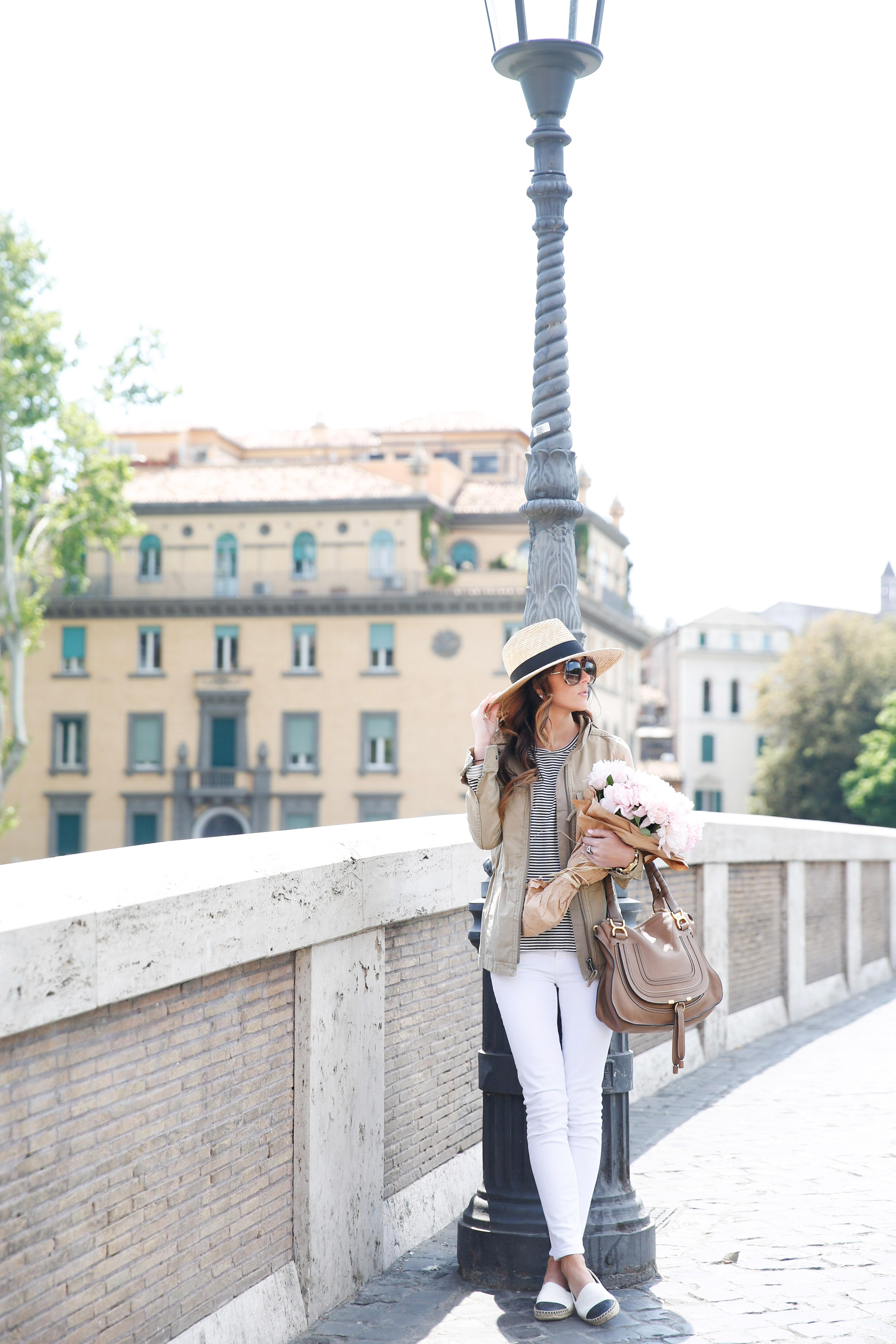 rome, trastevere, italy, madewell fleet jacket, pink peonies, alyson haley travel blog
