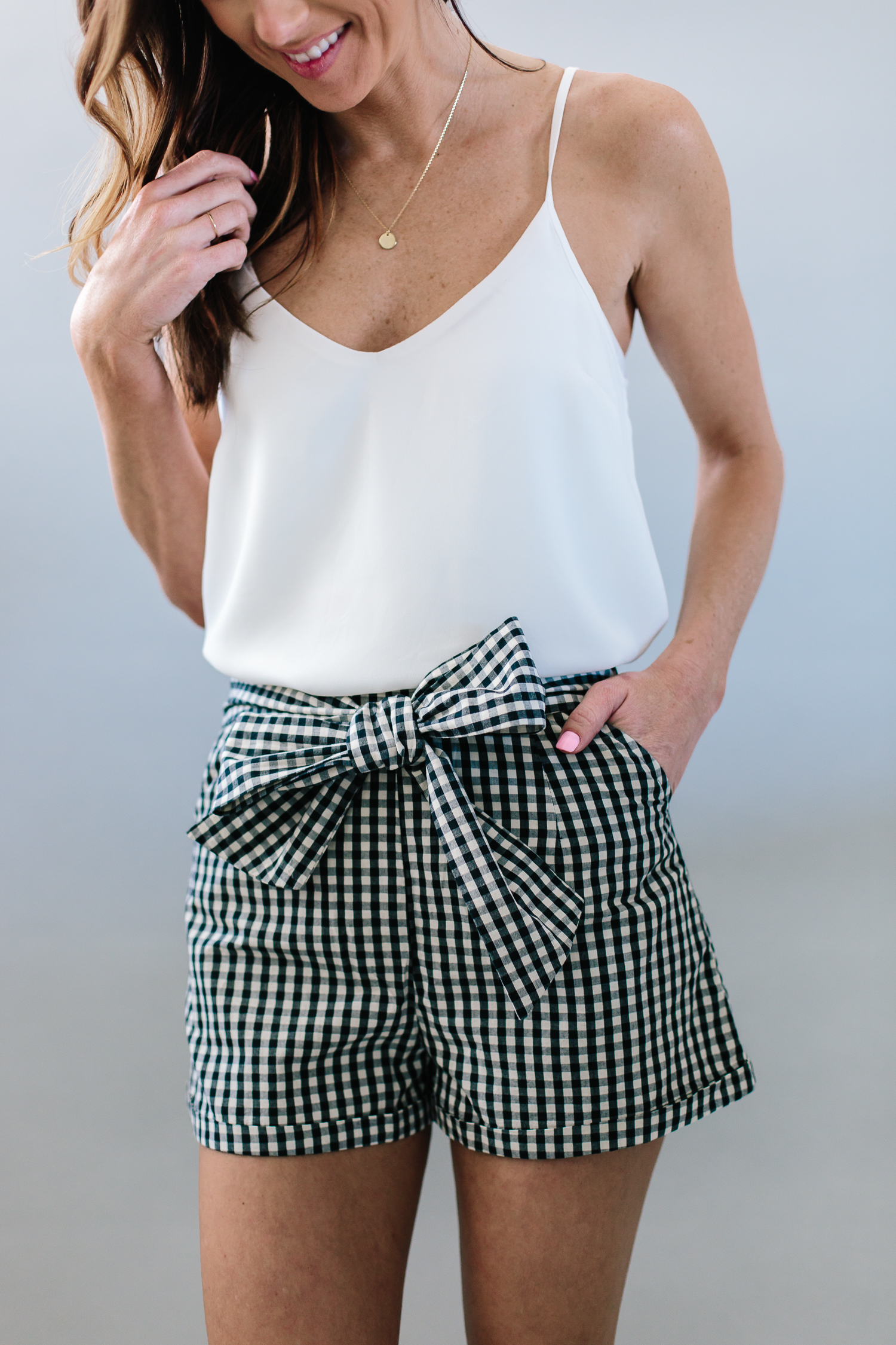 checkered shorts, gingham shorts, shorts review, statement earrings, spring shorts, summer shorts, shorts review, shorts