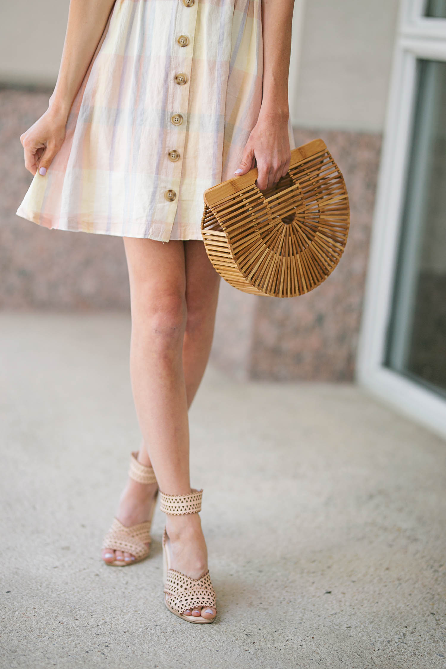 Plaid Dress, Urban Outffiters, rewardStyle Conference, Statement Earrings, Baublebar, Cult Gaia, Gucci Sunglasses