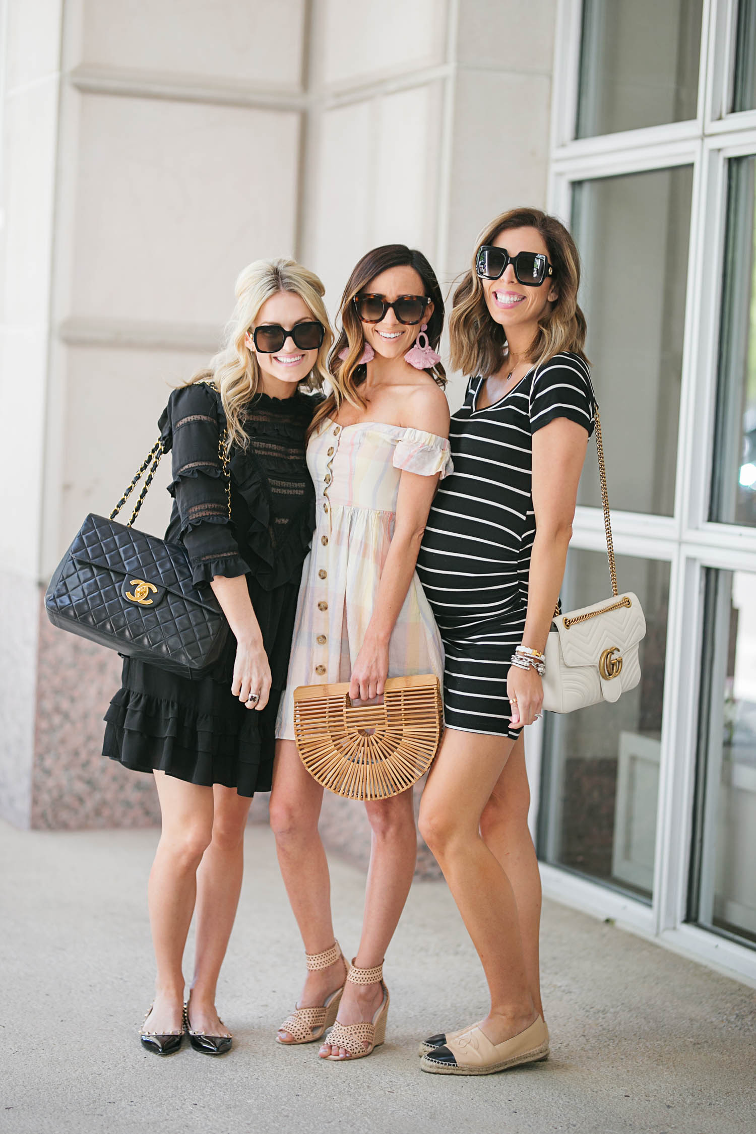 Friends, Plaid Dress, Urban Outffiters, rewardStyle Conference, Statement Earrings, Baublebar, Cult Gaia, Gucci Sunglasses