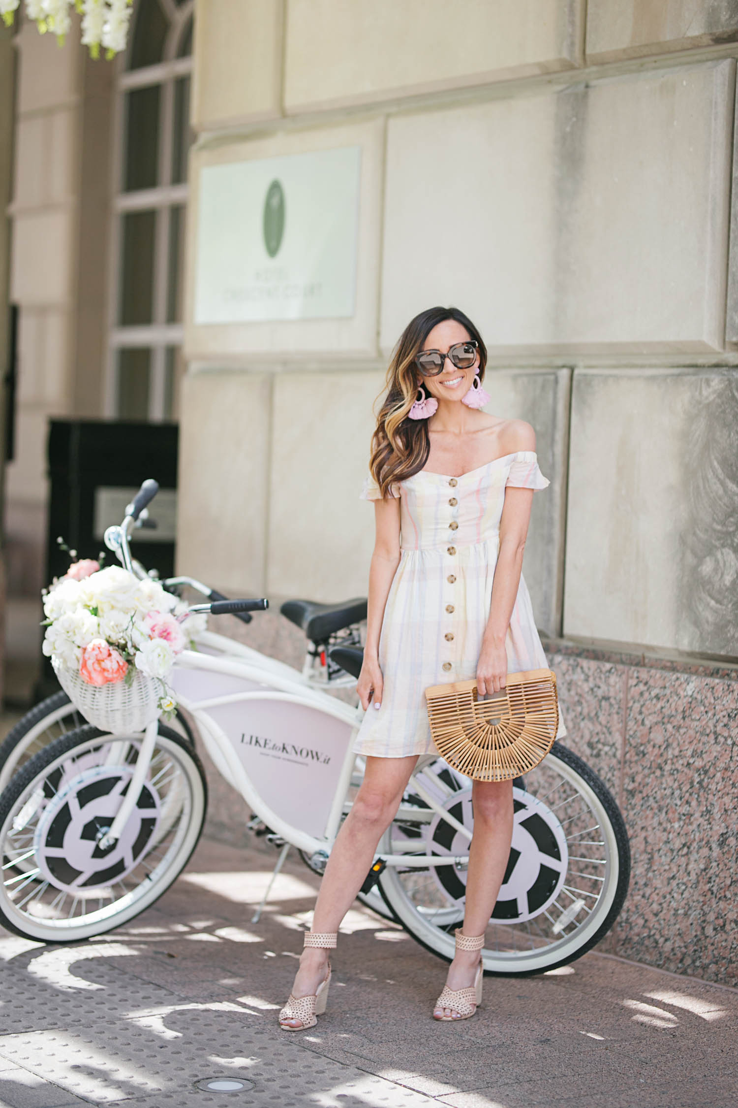 Plaid Dress, Urban Outffiters, rewardStyle Conference, Statement Earrings, Baublebar, Cult Gaia, Gucci Sunglasses, Bike
