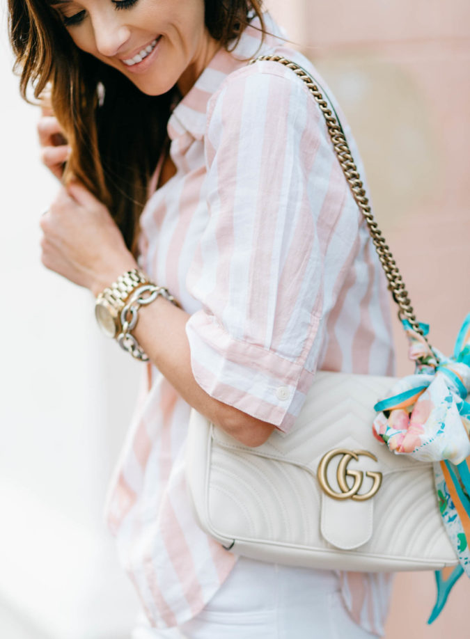 pink and white stripes, gucci marmont shoulder handbag, anthropologie silk scarf