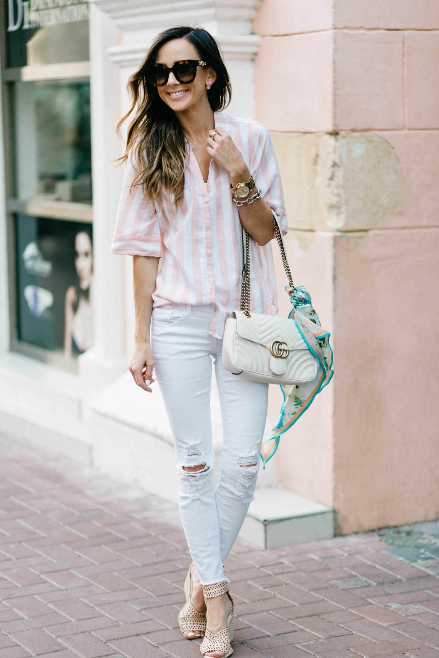 pink and white stripes, j brand distressed denim, curaçao, j.crew, nordstrom, gucci