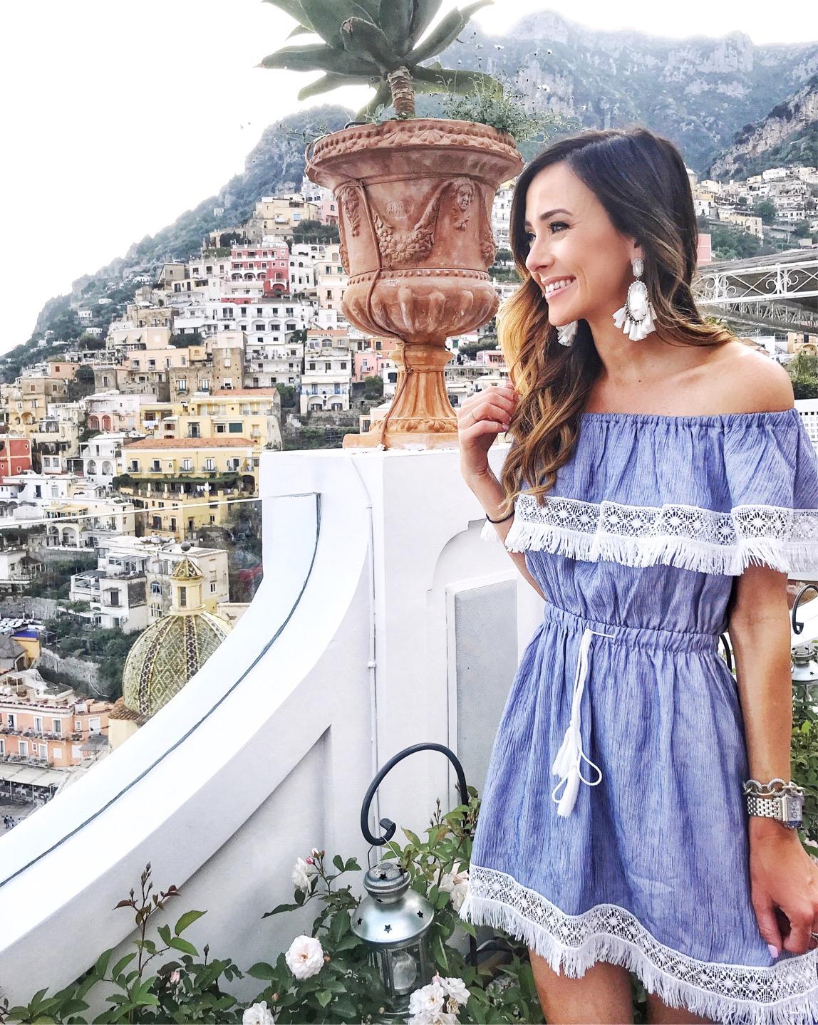 positano, italy, amalfi coast, kendra scott earrings