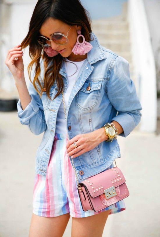 rainbow stripe shorts, privacy please, procida, italy, amalfi coast, alyson haley, denim jacket, jean jacket, topshop statement handbag, baublebar statement earrings