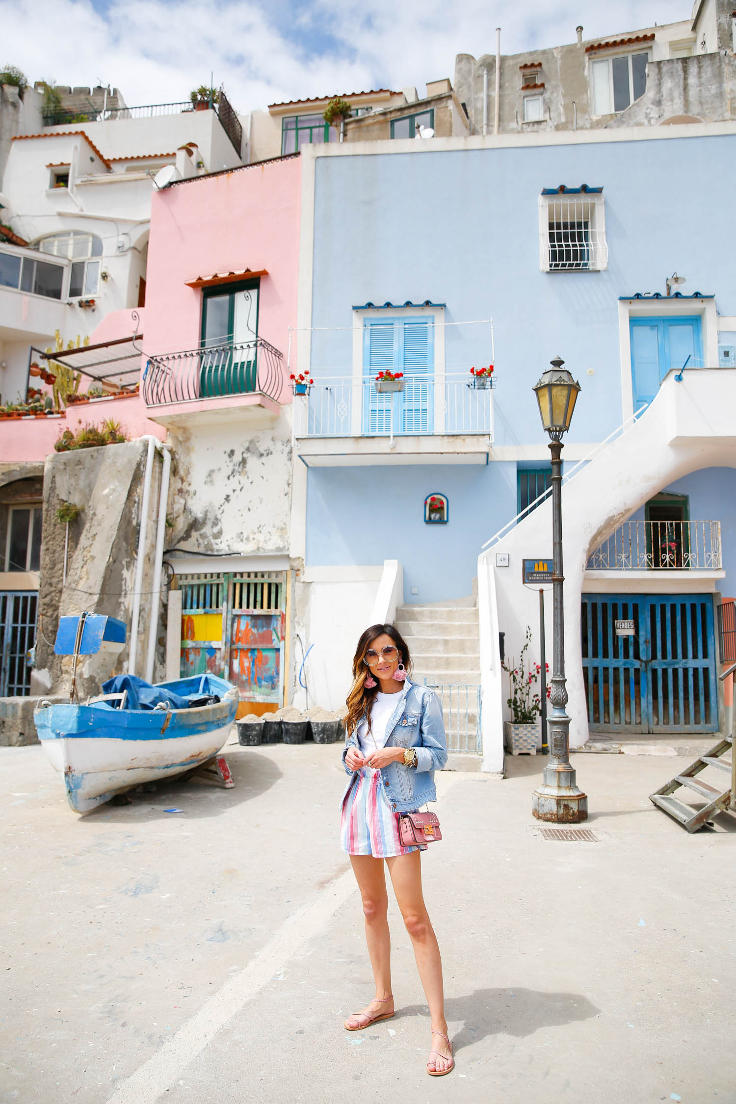 procida, colorful shorts, privacy please, italy, jean jacket