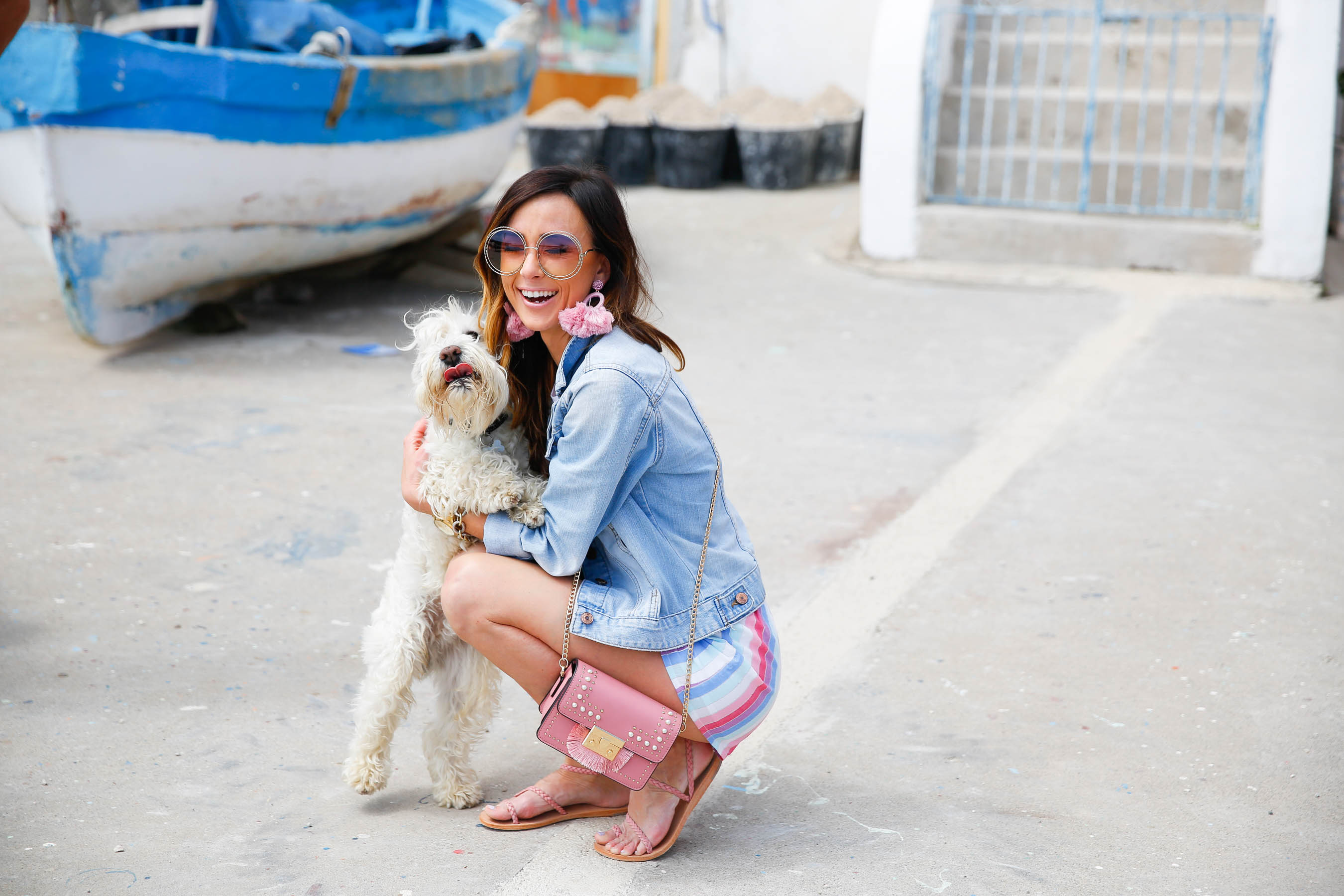 procida, colorful shorts, privacy please, italy, jean jacket, chloe sunglasses, statement earrings, baublebar
