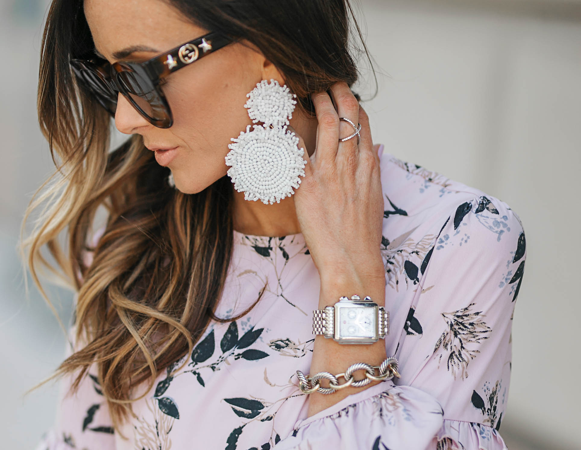 floral dress, urban outfitters, gray valentino sandals, valentino rockstud sandals, chloe faye medium satchel, baublebar earrings, statement earrings, gucci sunglasses