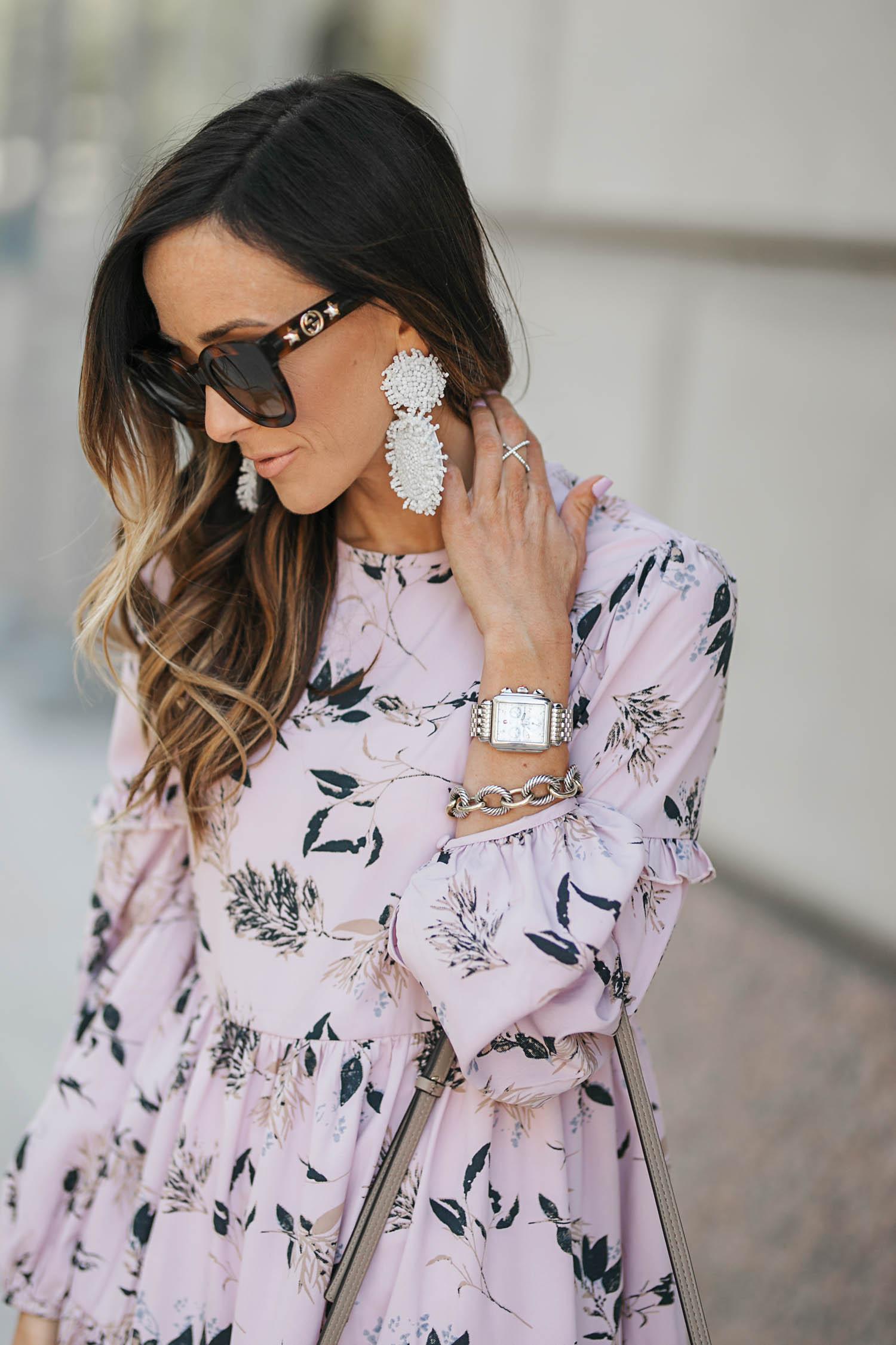 floral dress, urban outfitters, gray valentino sandals, valentino rockstud sandals, chloe faye medium satchel, baublebar earrings, statement earrings, gucci sunglasses