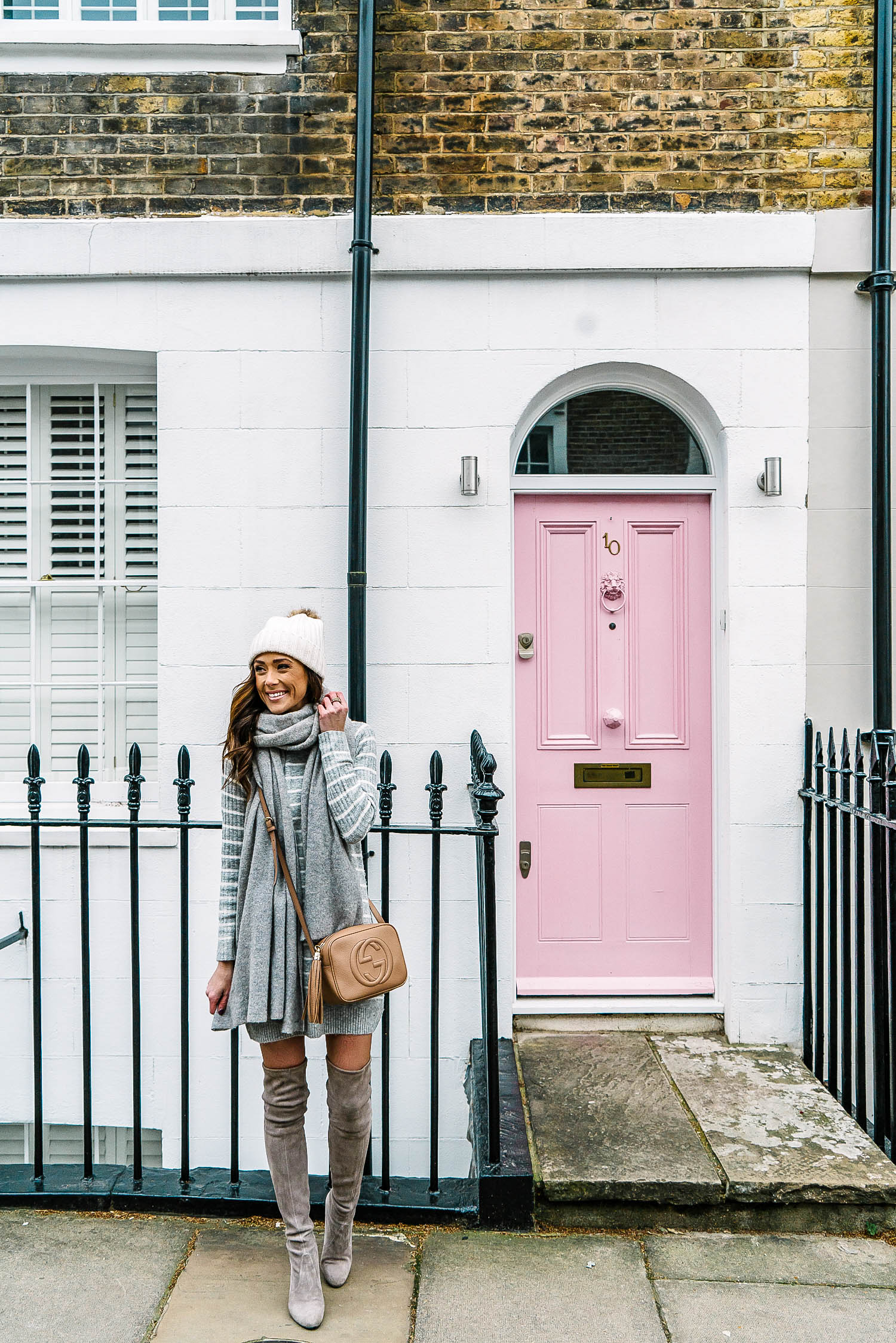london, notting hill, most instagrammable spots in london, sweater dress, what to pack for london in the winter