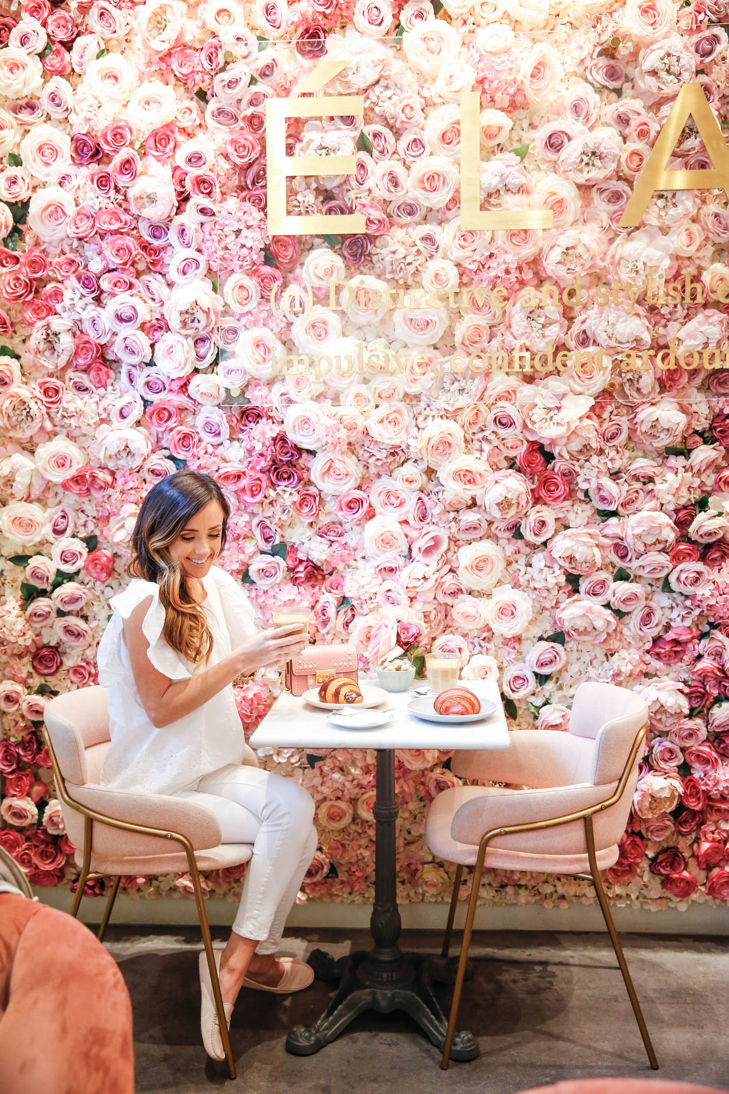 most instagrammable spots in london, elan cafe, flower wall, london, england