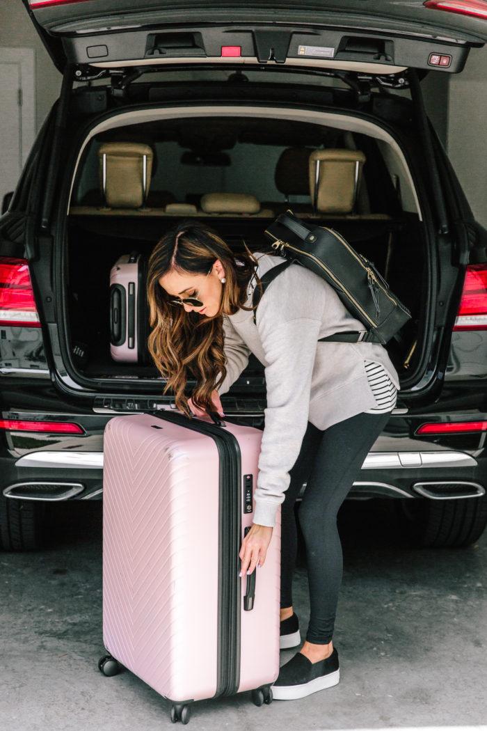 nordstrom anniversary sale pink chevron spinner luggage